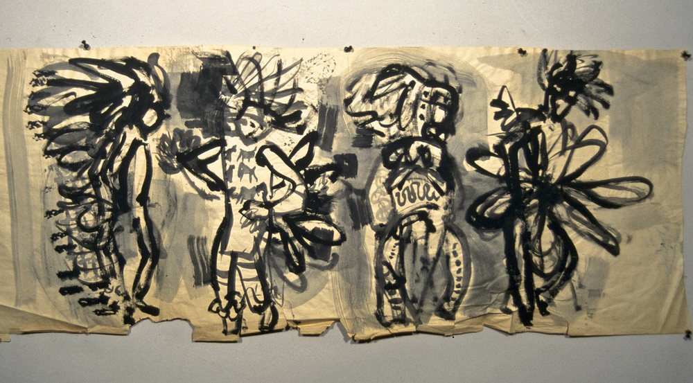 BOB- Pow Wow Dancers/1954/21 x 54/ ink on news print/ property of Tina DeWeese