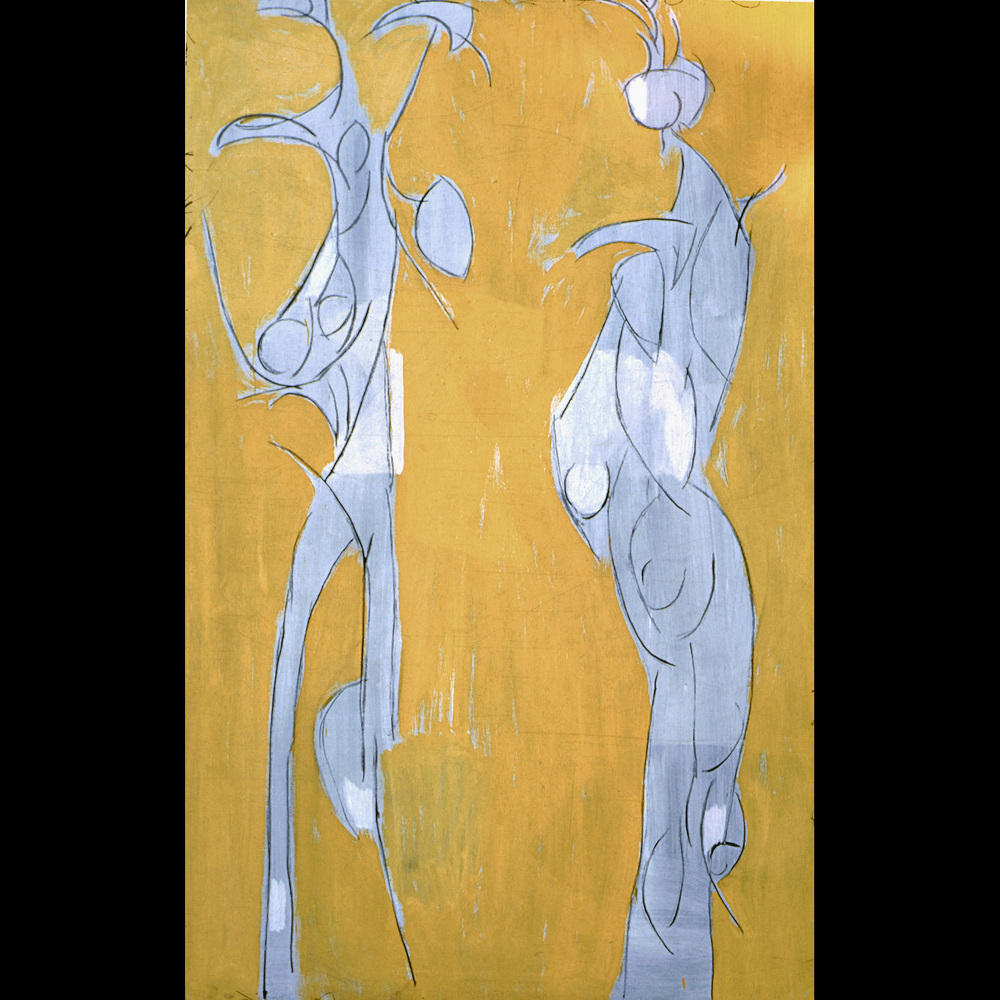 GEN - Two Figures / 1960 / oil on masonite / 48 x 72""