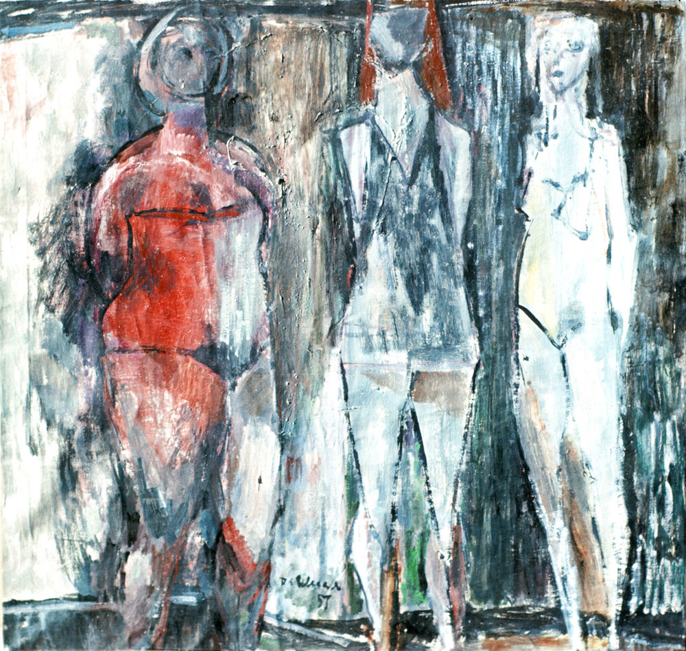 "Three Graces - 1957/oil on masonite/18 x 18"" (?)"