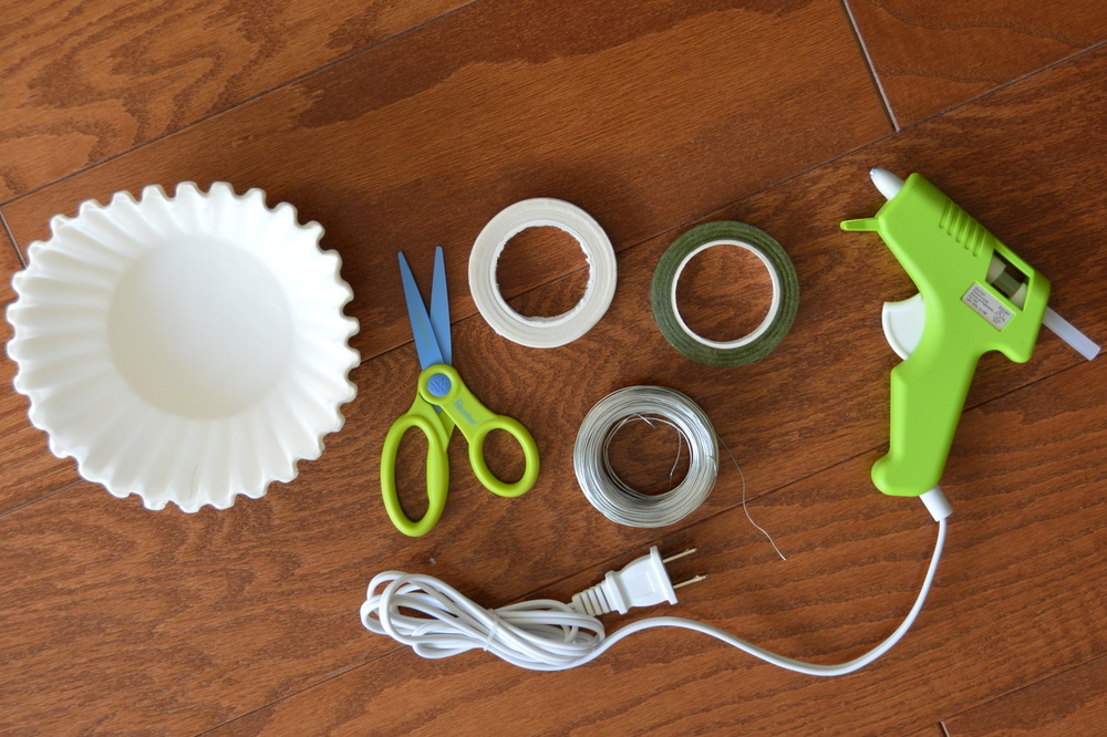 Things you will need: Coffee Filters, Scissors, Wire, Paper Tape, Hot Glue Gun.