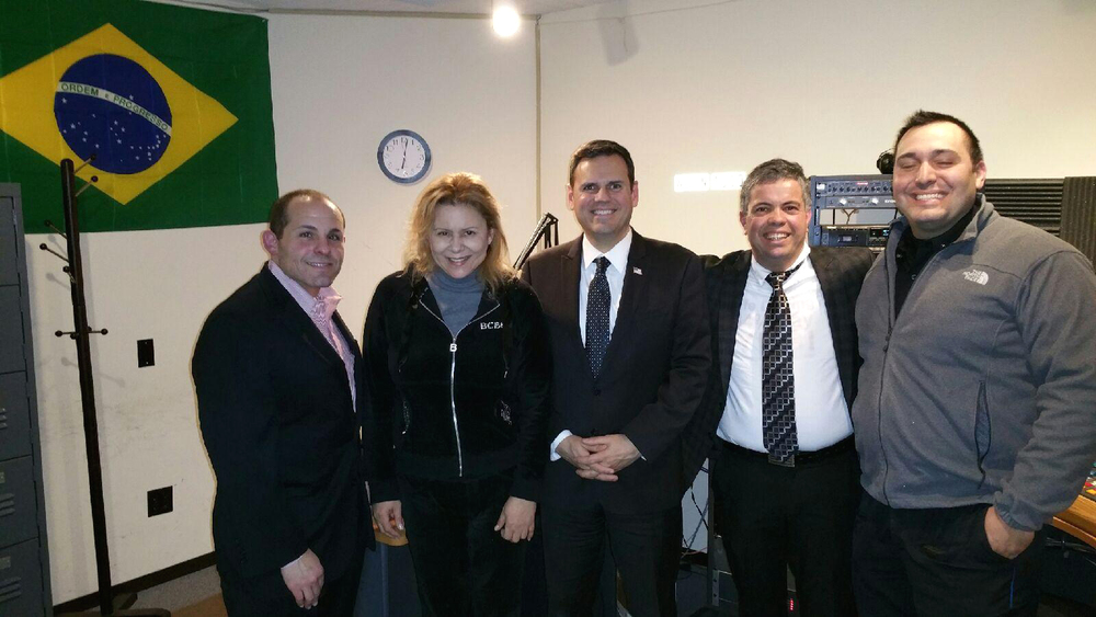 State Representative Steve Ultrino, Liliane Paiva of the Brazilian Times Newspaper, Mayor Gary Christenson, Pastor Oliveria, and Malden Police Officer Gustavo Kruschewsky