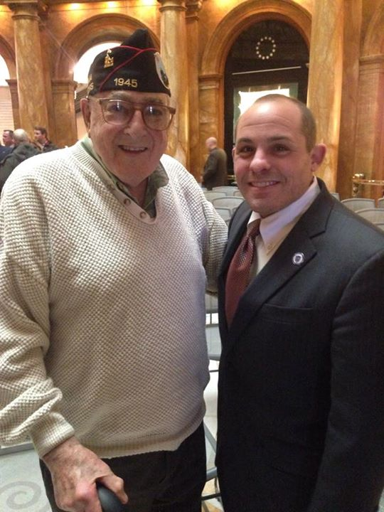 """Representative Ultrino meets with Corporal Sam Bernstein, 90, at a ceremony in February recognizing veterans of the Battle of Iwo Jima. """"Working to help veterans is a year-round effort,"""" says Ultrino."""