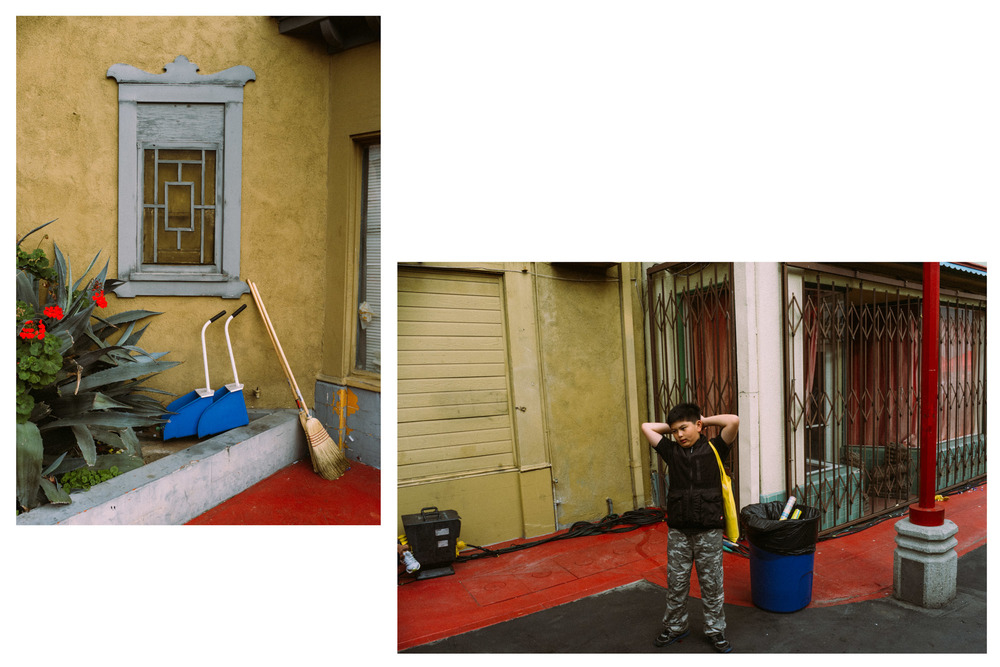 (a)Still image (b) Kid stretches along a similar environment. Chinatown, CA 2014