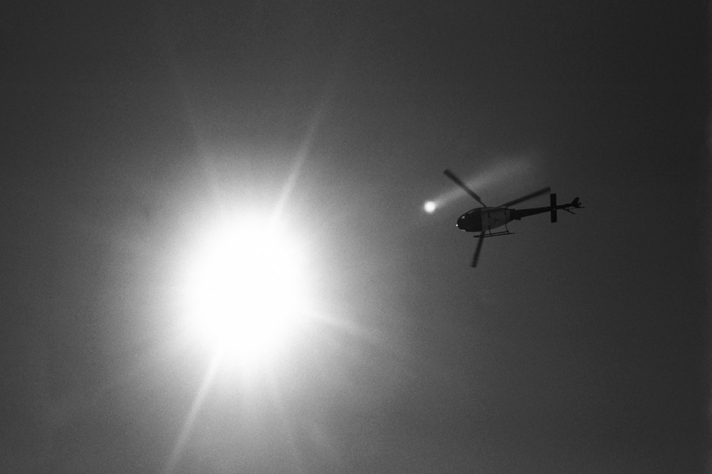 LAPD Helicopter patrolling the coast of Venice Beach, CA. 2015