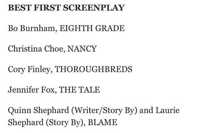 !!!!! CONGRATS @quinnshephardofficial & #LaurieShephard !! Thank you @filmindependent for the #SpiritAwards nom!!