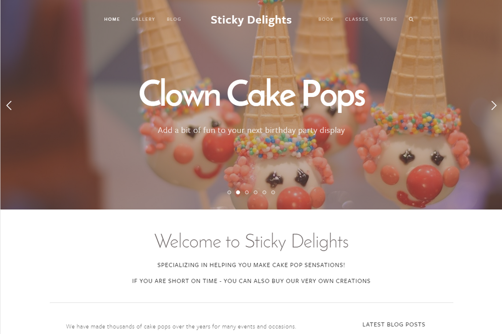Rotating landing page - Clown Cake Pops