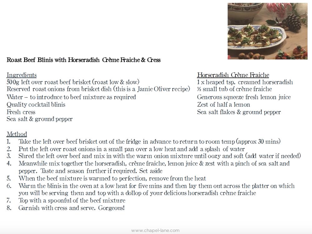 Beef & Horseradish Blinis
