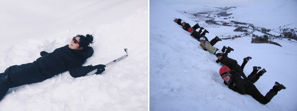 Left: NOT the correct way to self arrest.  Right: The correct way to fall.