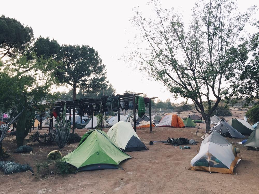 Hiker Heaven, sooo many tents and backpacks everywhere.