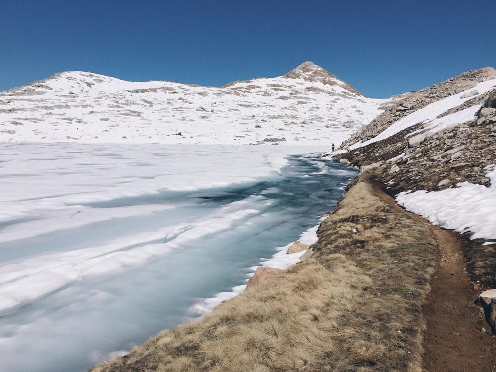 Rounding lots of frozen lake.
