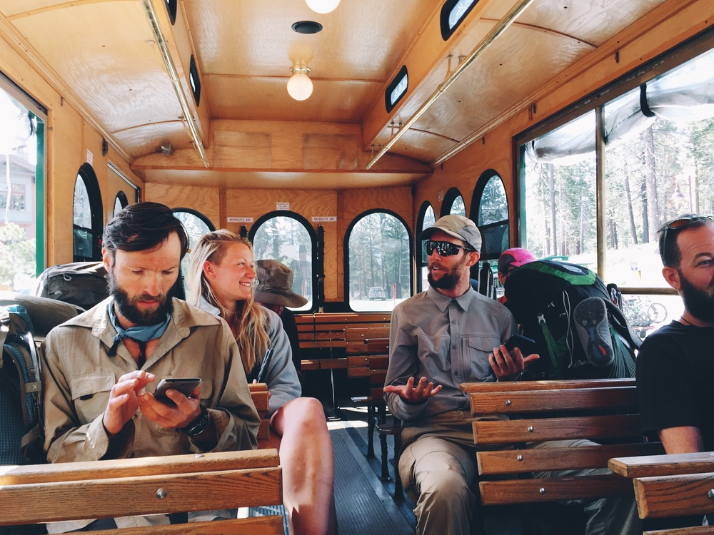 Taking the trolley in mammoth.