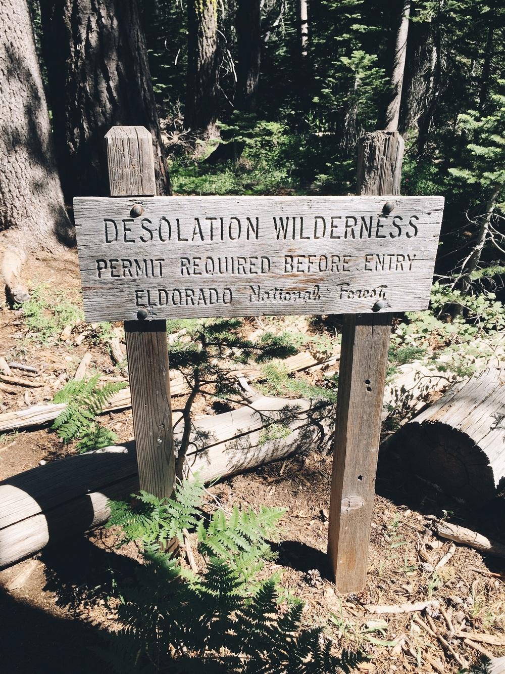 Entered into desolation wilderness.