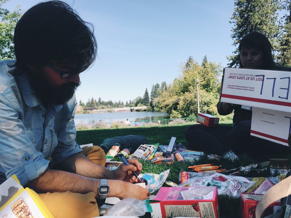 Sorting resupply by the deschutes river.