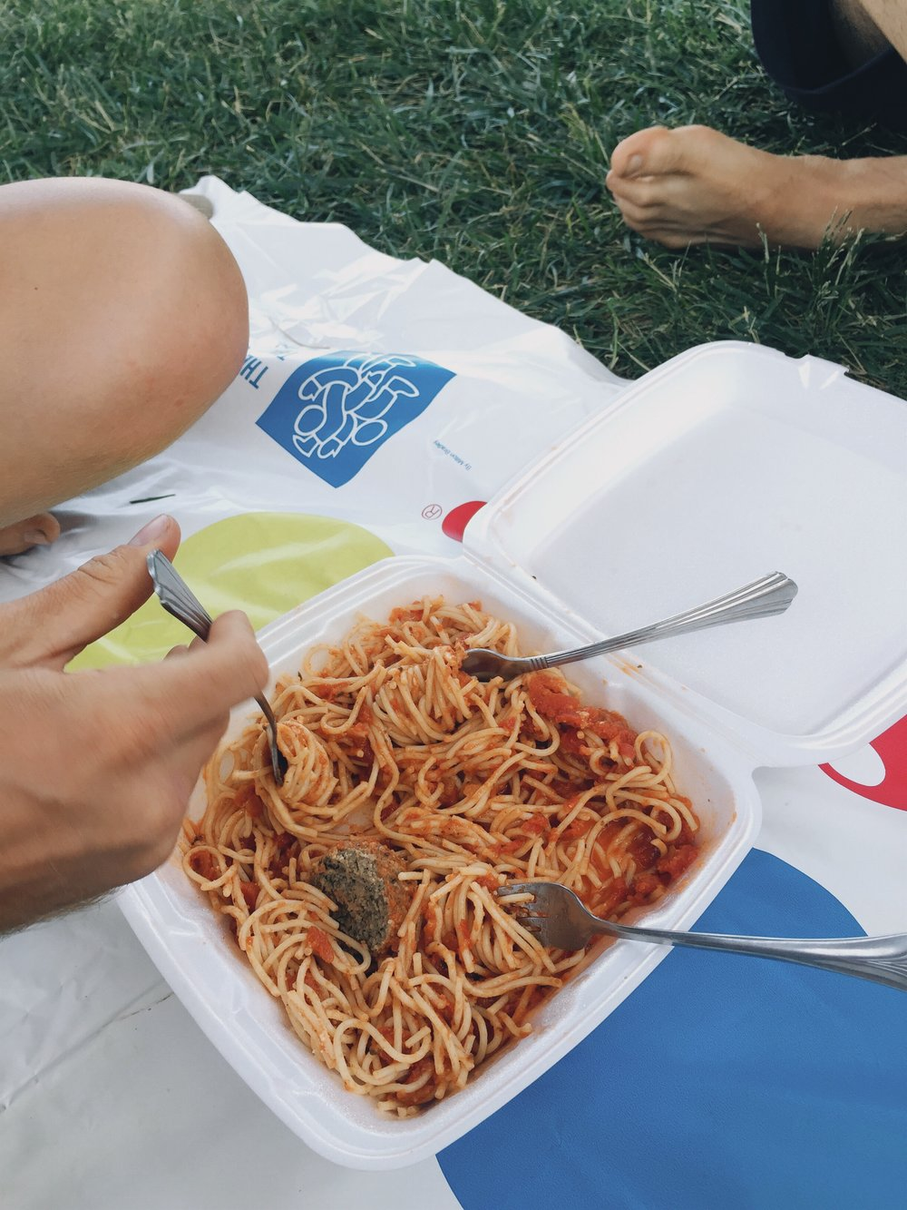 We wolfed down spaghetti at Hiker Heaven after a game of Twister.