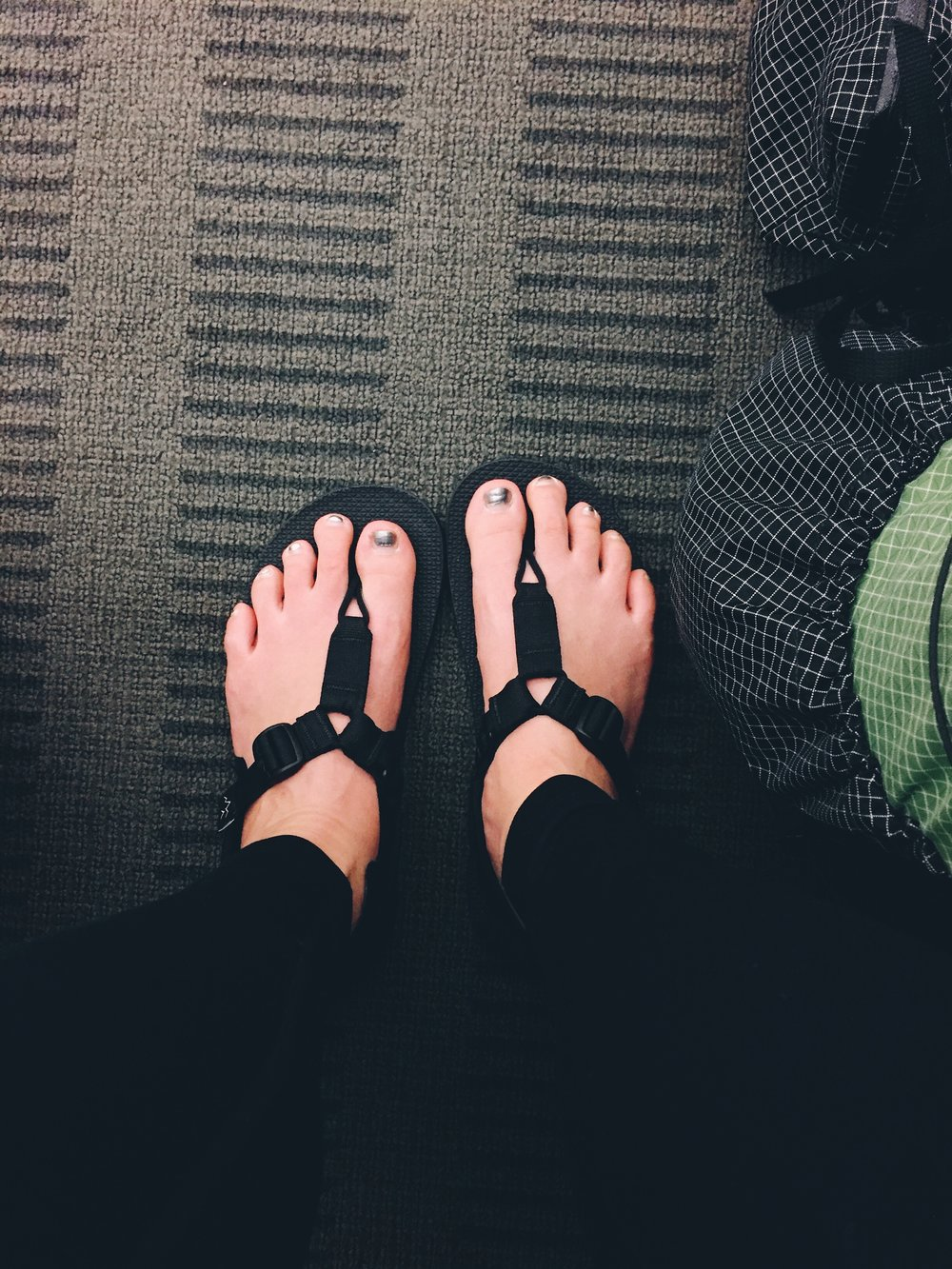 My bedrock sandals! Should've opted for a pedi too, my feet look kinda swollen from sitting the whole time.