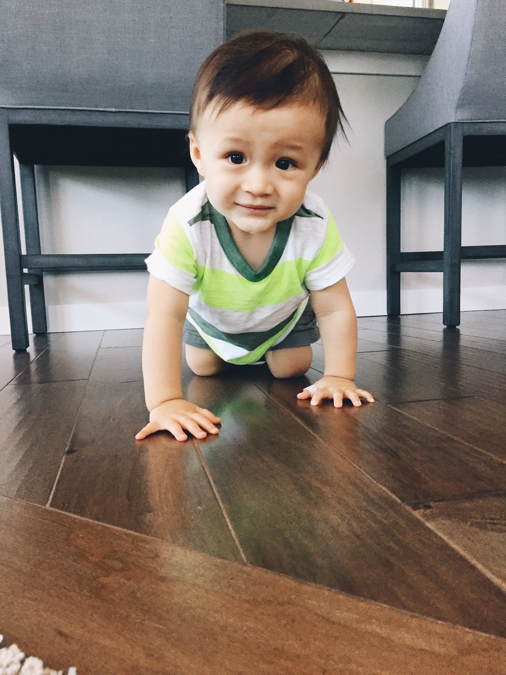 Owen is crawling so fast now!