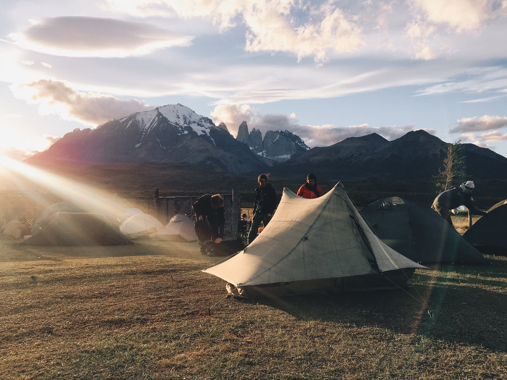 Tented with the most gnarly views outside of Torres Del Paine.