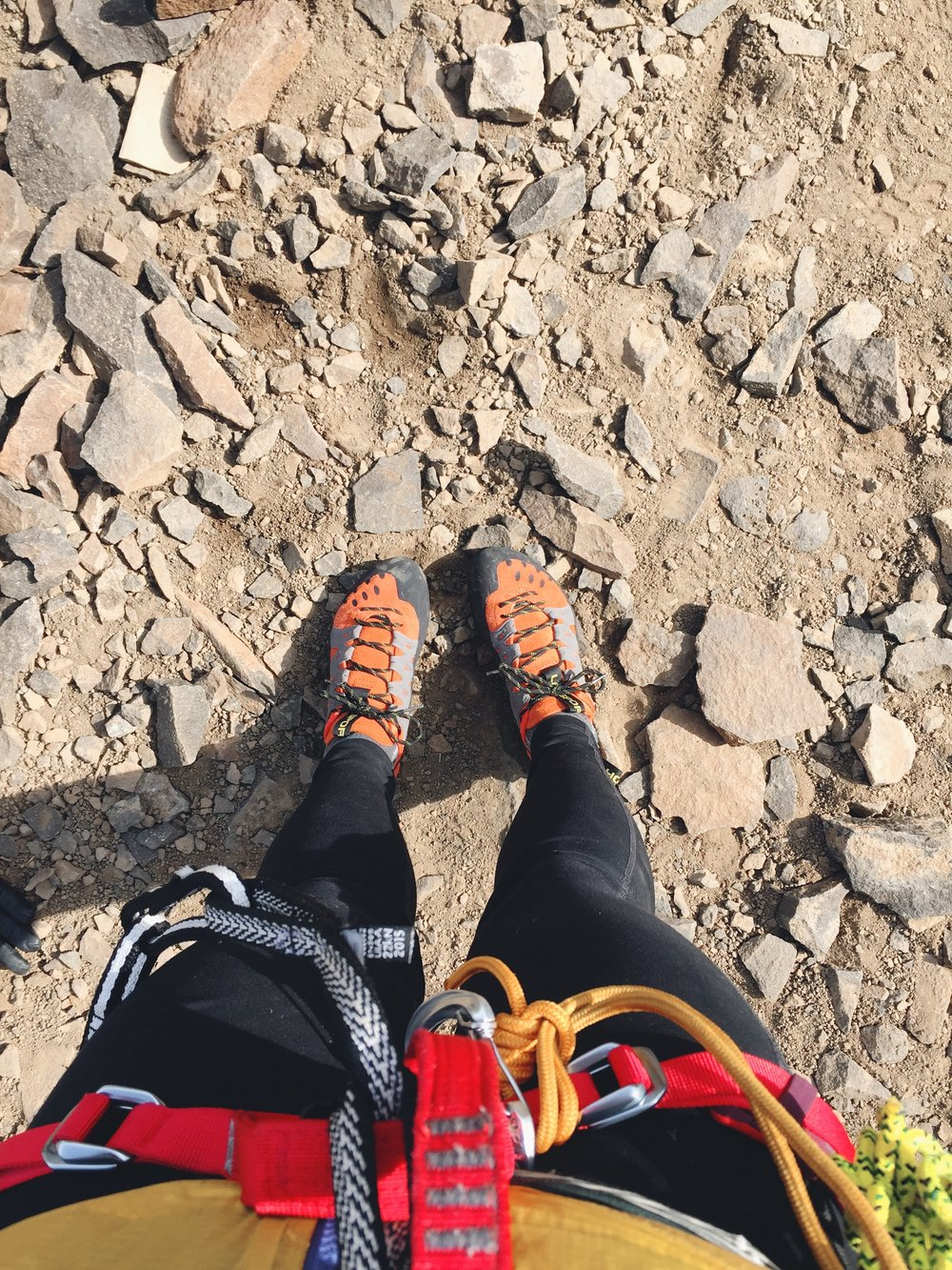It was the first time we could climb in our shoes outside. Once again, I had a terrible time and was told I was not going to be able to climb the Tooth if I didn't overcome my mental block (trusting my feet and not being scared).