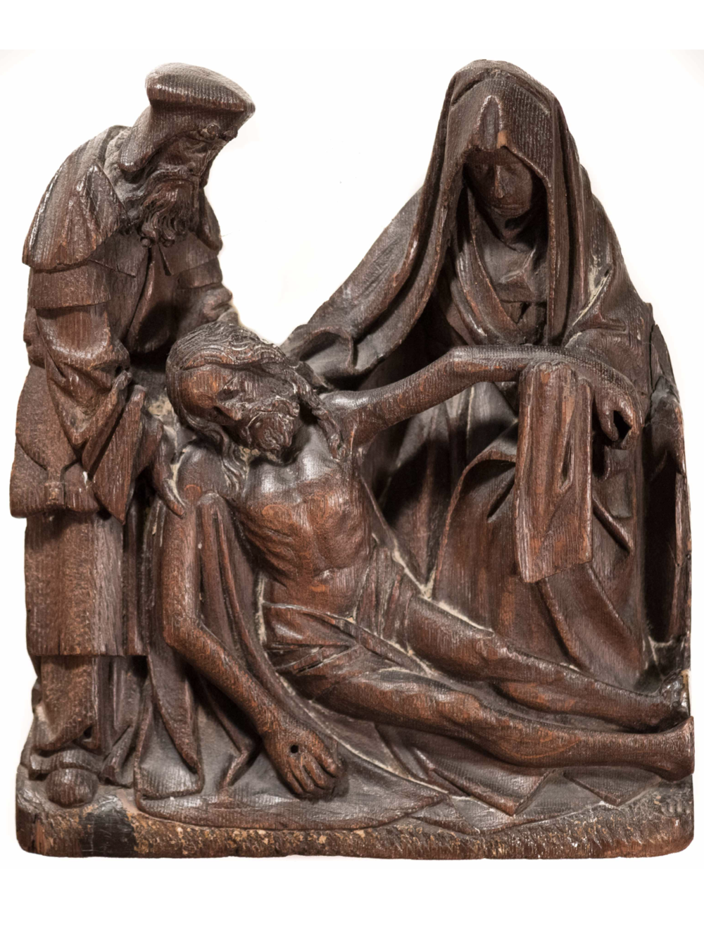 """Lamentation of Christ"" Oak Carving, Flemish c. 1490-1500"