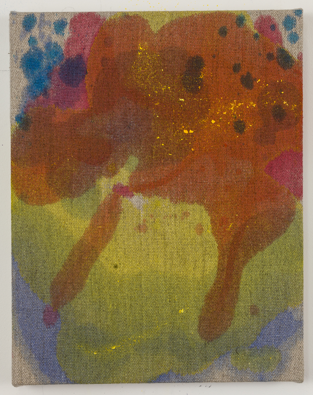 "CMY Blob, acrylic stain on raw linen, 14"" x 11"", 2016"