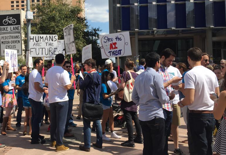 SXSW 2015: 'Stop The Robots' Protesters March To Stop Skynet Before It's Too Late International Business Times
