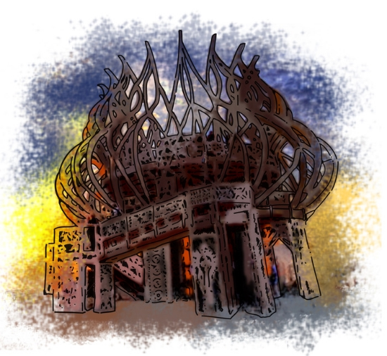Illustration of  the 2009 Burning Man Temple by Stephanie Wong