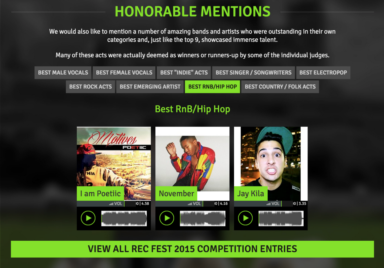 "Honored to receive an ""Honorable Mention"" in this years Recording Festival. #DreamBig #NYC #JayKila #Dope #Hip-Hop"