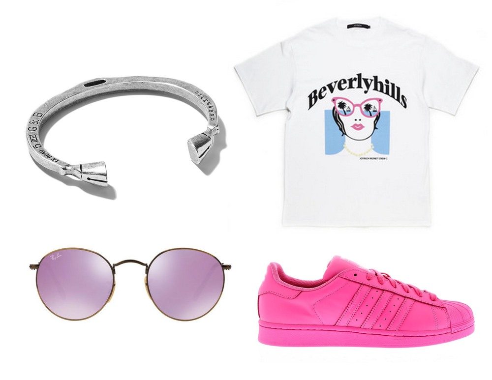 Giles & Brother Bracelet - JoyRich T-Shirt - Ray Bans - Adidas