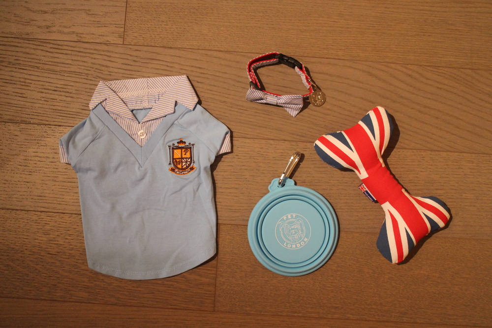 Crest Blue Shirt, Blue Travel Bowl, Mason Collar, Union Jack Bone