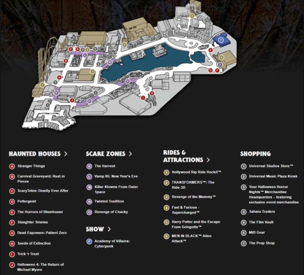Park map, shows scare zones!