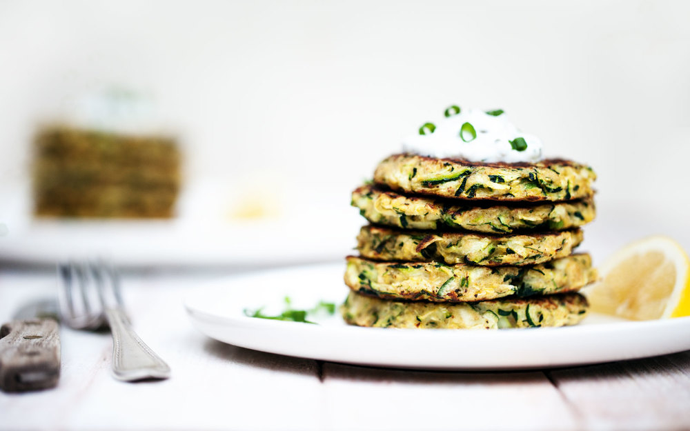 Zucchini Fritters with Lemon-Dill Yogurt Sauce // Natural Girl Modern World // Vegetarian & Gluten Free