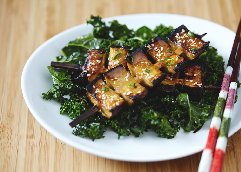 Miso Glazed Eggplant Kebabs with Kale Seaweed Salad // Natural Girl Modern World // Vegan & Gluten Free