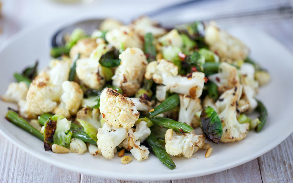 Roasted Cauliflower & Brussels Sprout Salad — Natural Girl ...