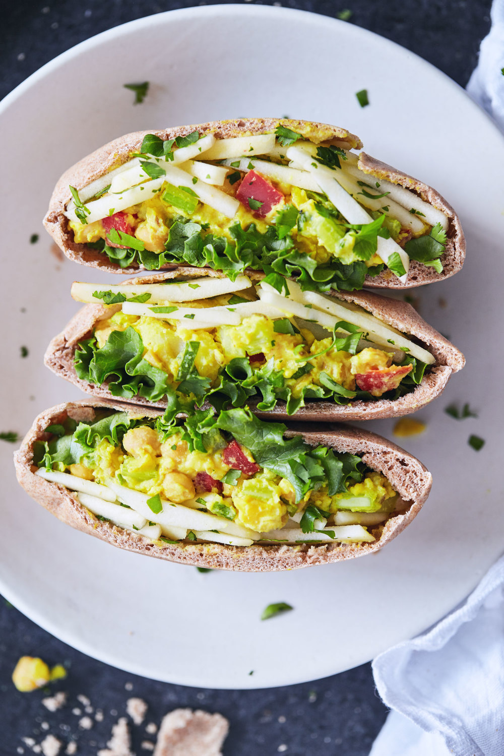 Curry Chickpea Salad Pitas with Apple Slaw // Natural Girl Modern World // Gluten Free