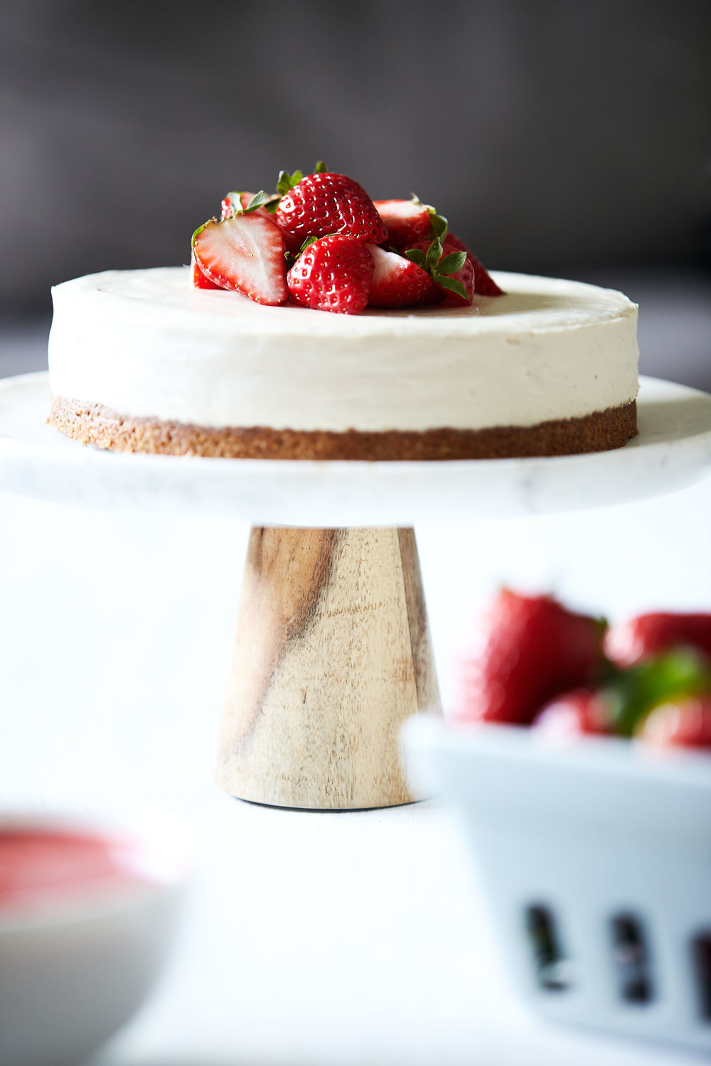Vegan Cheesecake with Strawberry Rhubarb Sauce // Natural Girl Modern World // Vegan & Gluten Free