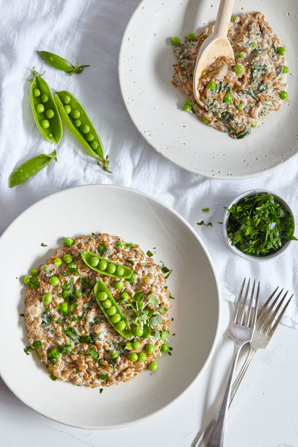 Creamy Farro Risotto with Greens // Natural Girl Modern World // Vegan