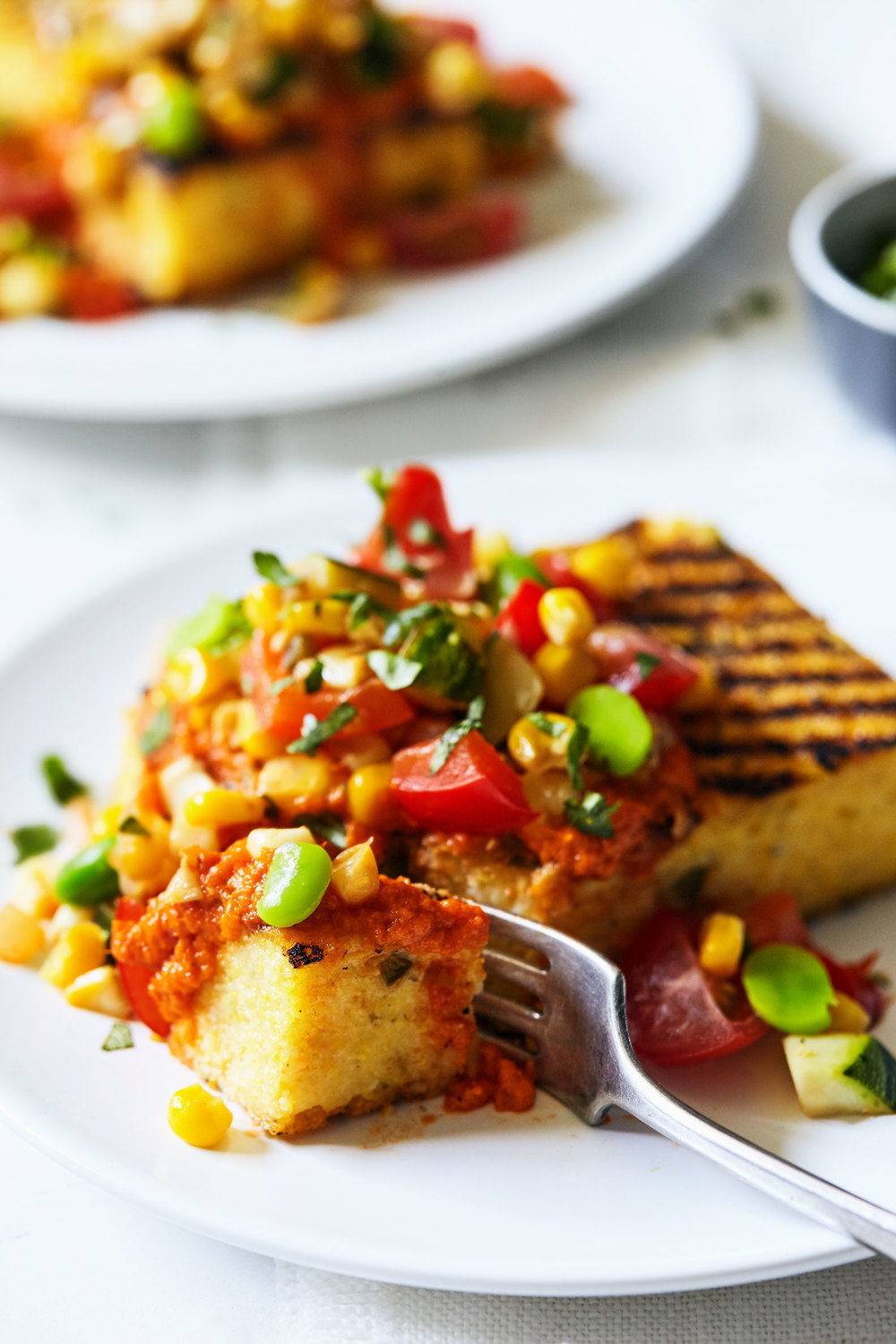 Summer Succotash Over Grilled Jalapeno Polenta // Natural Girl Modern World // Vegan & Gluten Free