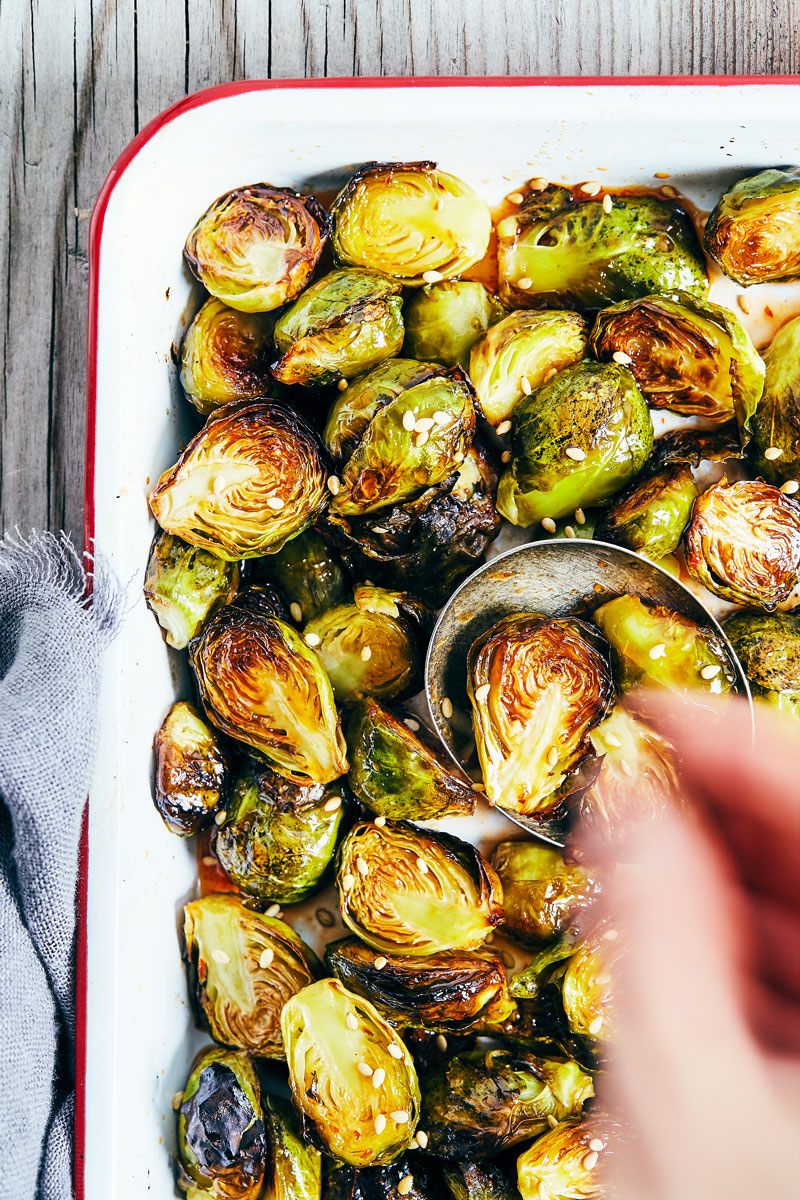 Maple Sriracha Brussels Sprouts // Natural Girl Modern World // Vegan & Gluten Free