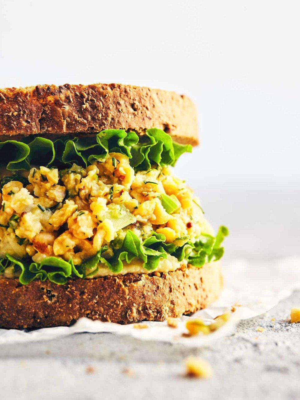 Lemon & Dill Chickpea Sandwich | Evergreen Kitchen | Vegan