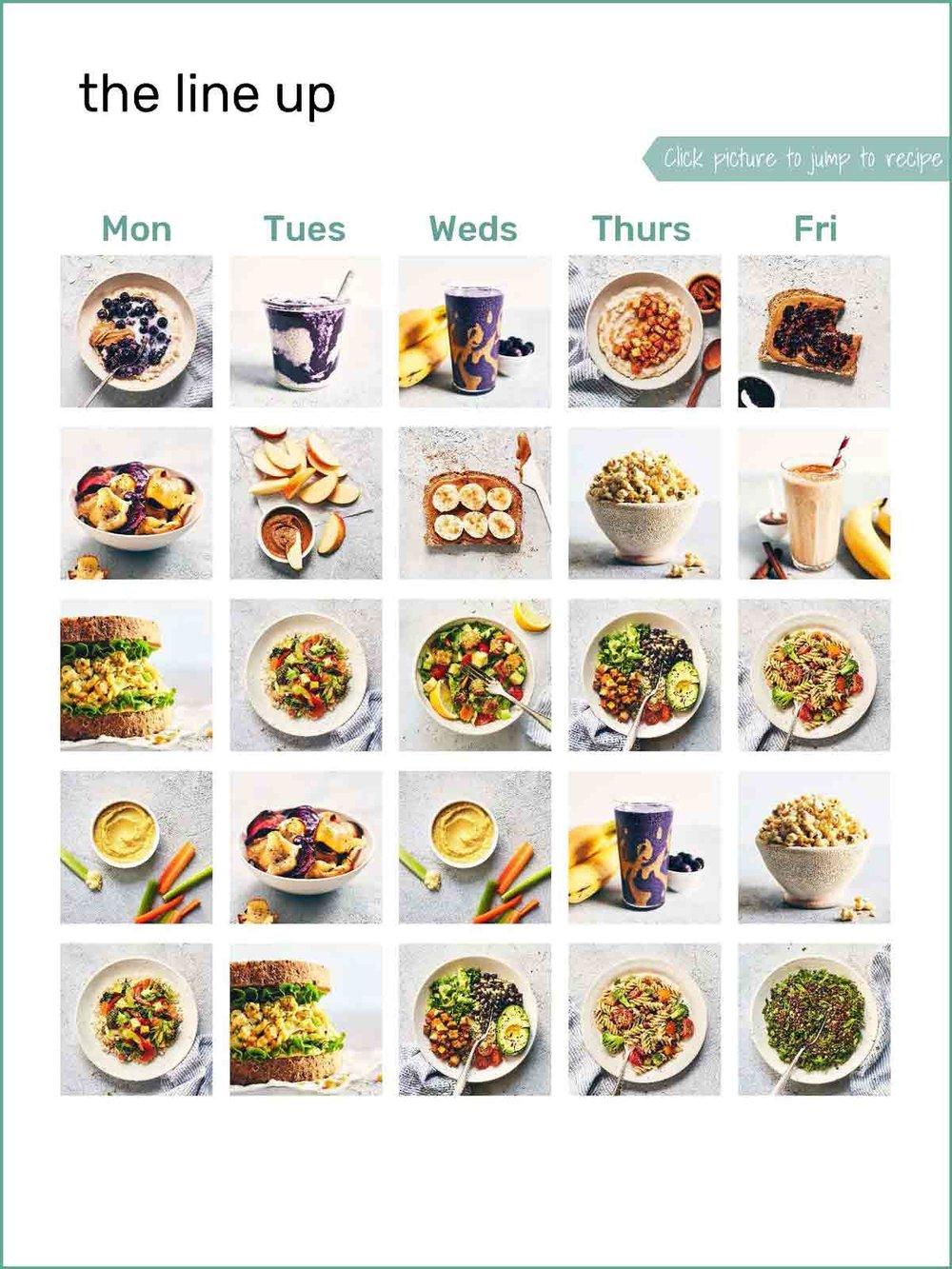Weekday Recipe Menu | Evergreen Kitchen | Vegan