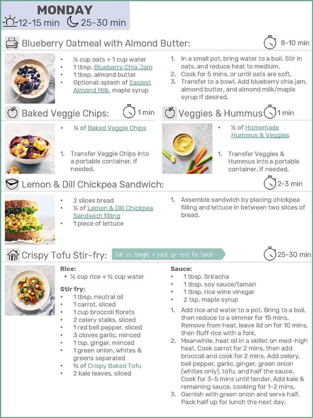 Monday Example | Evergreen Kitchen | Vegan