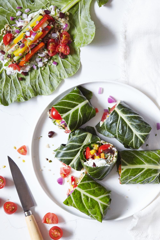 Greek Collard Green Wraps with Tzatziki | Evergreen Kitchen | Vegan & Gluten Free