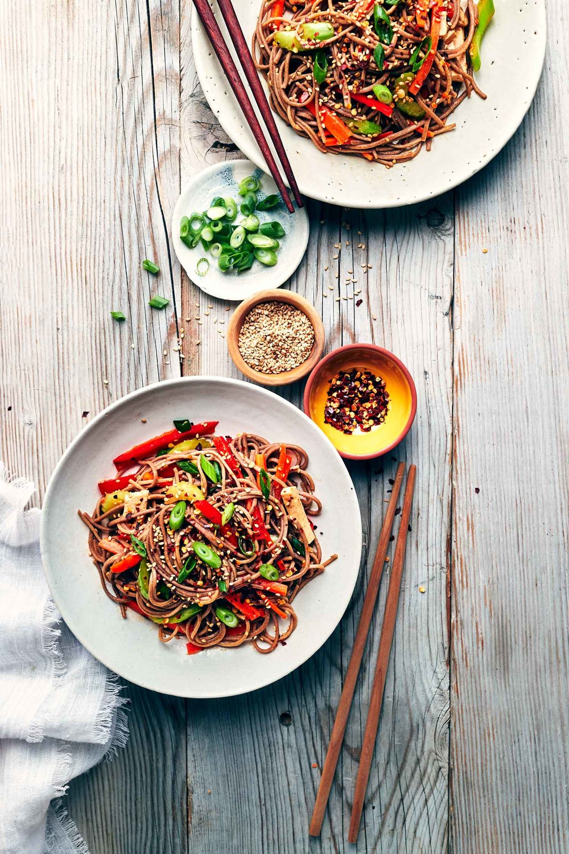 Sesame Soba Noodle Salad | Evergreen Kitchen | Vegan &Gluten Free (option)