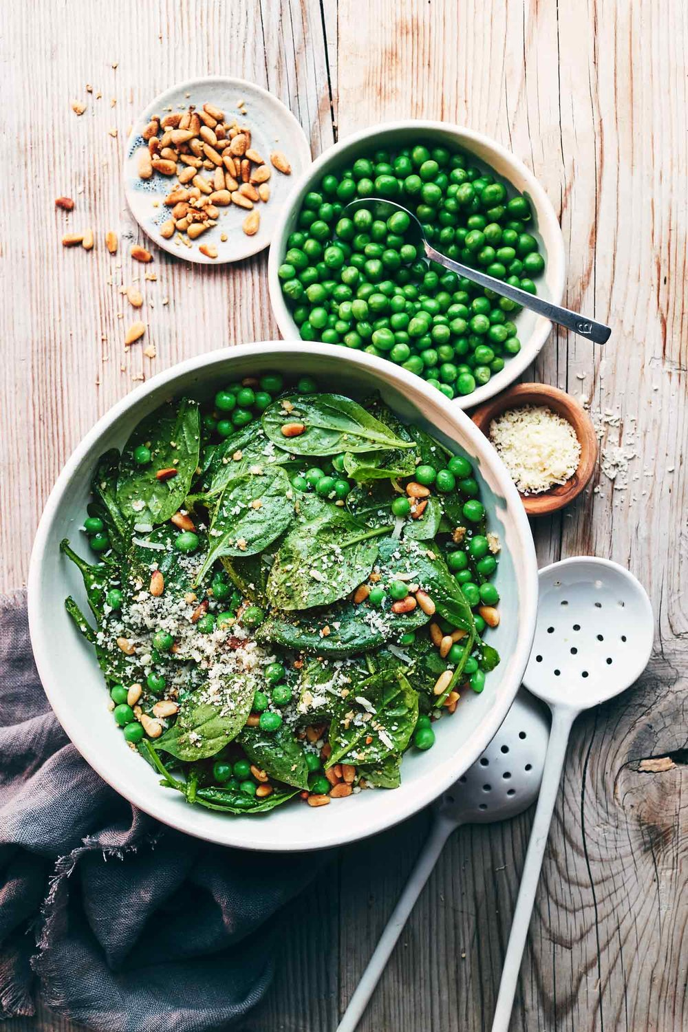 Pea & Pesto Spinach Salad | Evergreen Kitchen | Gluten Free, Vegan (option)