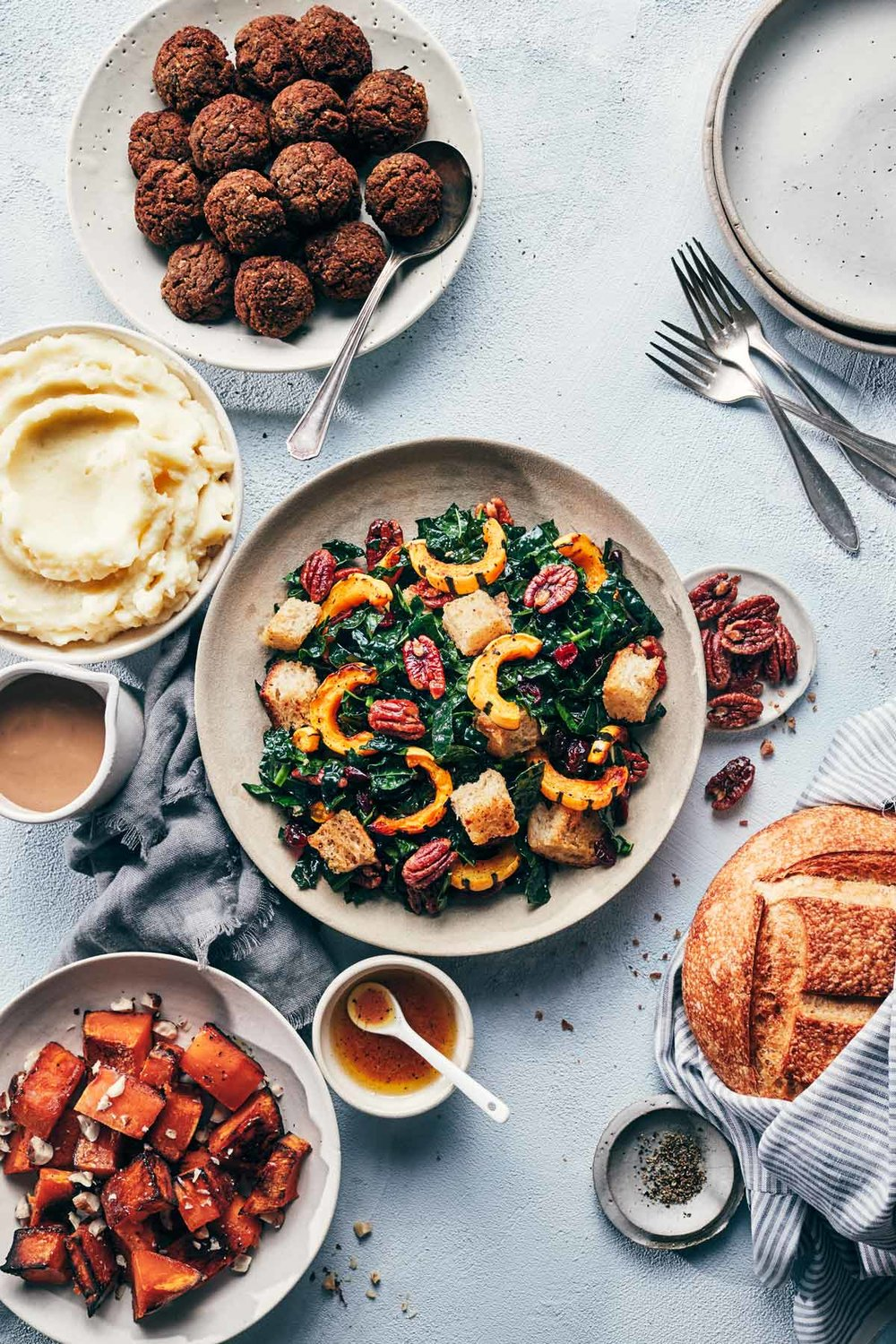 Festive Kale Slaw with Roasted Squash | Evergreen Kitchen | Vegan, Gluten Free (option)