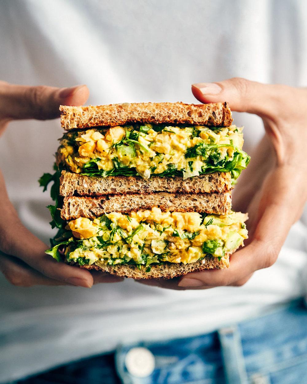 Lemon & Dill Chickpea Sandwich | Evergreen Kitchen | Vegan, gluten free (option)