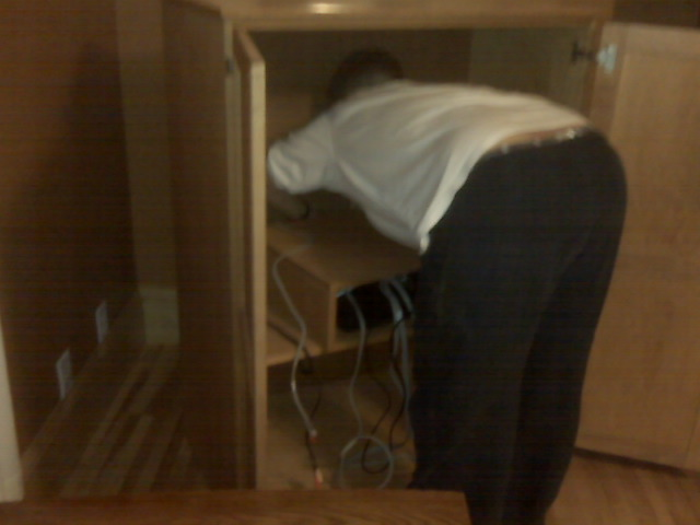 Luisa in a cabinet