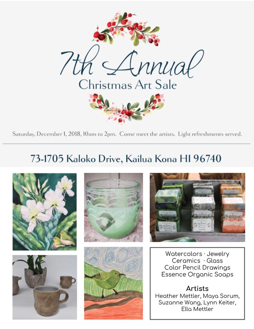 I'm excited to be participating in this year's Christmas Sale at my friend Heather Mettler's house. She is a talented glass artist who opens up her place annually with a few other invited artists. If you've never been to Kaloko, it feels like another world, away from the crowded and touristy Kona scene. It's an area above Kailua-Kona, on a 7 mile drive that winds up the mountain to 5000ft elevation, ending in a cloud forest at the very top. Filled with lush rainforest flora and native Ohia trees, it's a serene and quiet place where land reigns supreme. Heather's property is beautiful, and I'm looking forward to just soaking in the atmosphere amongst good company. If you're in Kona, please stop by! And if you live anywhere else, come out and visit this special place…and then go the beach afterwards!