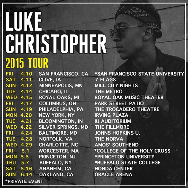 Luke Christopher 2015 tour