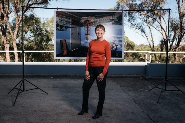 Robyn Stacey with her work  Lighthouse Wharf Hotel, Port Adelaide , 2016; photo: Daniel Boud